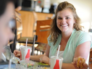 Chris Hardy -- Kelly Leonard enjoys a lunch at Brisco's, one of the major additions to campus since Leonard's freshman year.