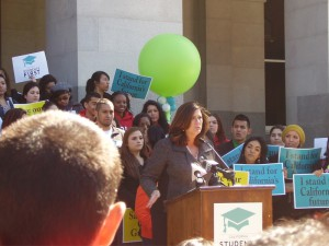 Christina Osborne -- Students attend rally in Sacramento to protest reduction of private school Cal Grants.