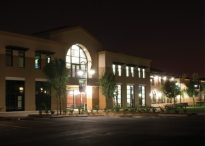 Zack Mullings -- Lights illuminate the recently dedicated business building as night descends on California Baptist University. The two-story facility features a student lounge, 14 state-of-the-art classrooms, a conference room, 20 faculty offices and an atrium.