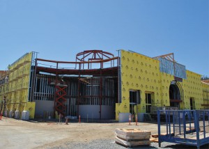 Sarah Jane O'Keefe -- Building crews continue working on the new Student recreation Center after the construction was slowed to add additional state-of-the-art workout features to the facility.