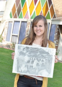 Willoughby Douglas -- Jessica r. Ford shows off her art work that she took to Mexico.