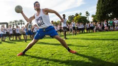 Ian Dawnson, freshman civil engineering major, does not hold back as he throws the dodge ball at the team from APU. Katey Lee Banner