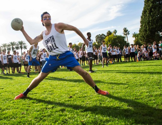 Ian Dawnson, freshman civil engineering major, does not hold back as he throws the dodge ball at the team from APU. Katey Lee|Banner