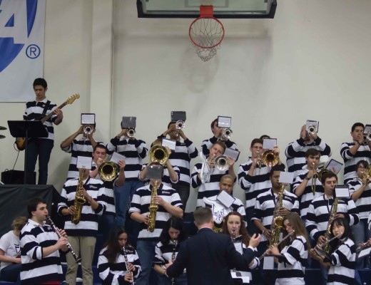 "CBU's pep band uses music to pump up Lancer fans during a basketball game. The band plays top hits such as ""Single Ladies"" by Beyonce. Jared Overstreet 