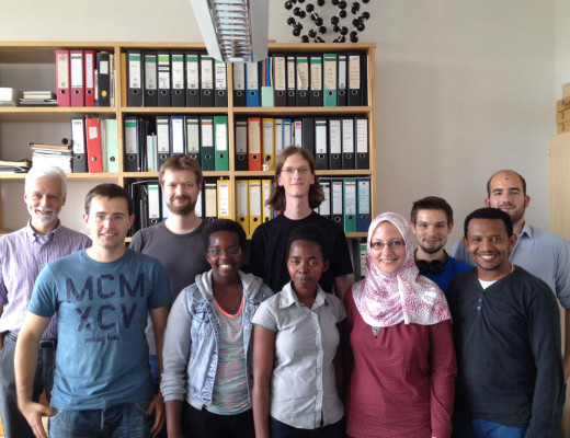 Lea Sarabwe, senior biology major, and Princesse Bwiza, junior biochemistry major, (front and center), spent the summer researching in Germany. Courtesy of Lea Sarabwe