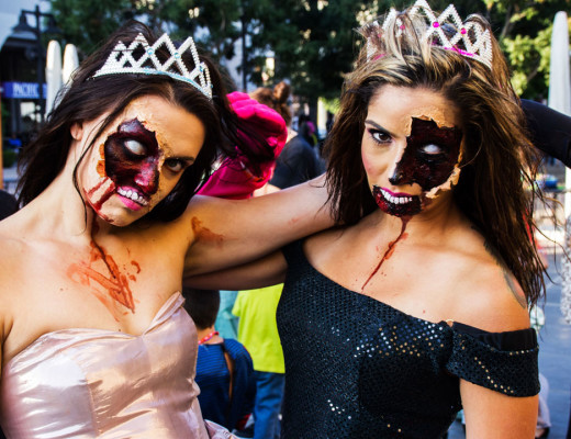 Zombie Queens give their best zombie pose for the annual Riverside Zombie Crawl. The women's makeup was done so well that children attending the event were frightened. One of the women went on to win the adult portion of the event's costume contest. Connor Schuh | Banner