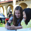 Lydia Nolen, sophomore international studies and political science double major, and Lulu Wu, music major, meet for the first time to learn more about each other. Conversation partners gather to discover their international student at the Staples Courtyard.  Nadia Nawabi | Banner