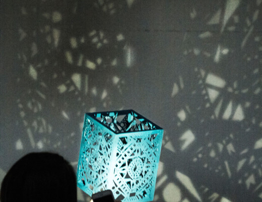 """Julianna Anderson, senior visual arts major, uses light to project a Middle Eastern-inspired lantern design that will be featured in the theater production of """"Life is a Dream"""" this November. Courtesy of Jenna Mohn"""