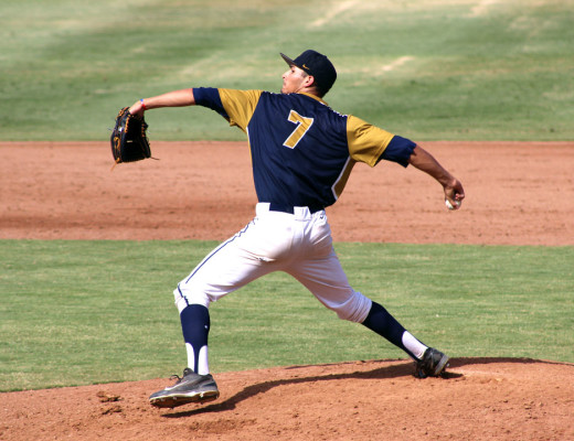 Tyson Miller, sophomore communication studies major, pitches at a scrimmage against University of California at Riverside. Miller was instrumental in the Lancers' ability to score big in their scrimmage against their Division I opponent. Grace Allen | Banner