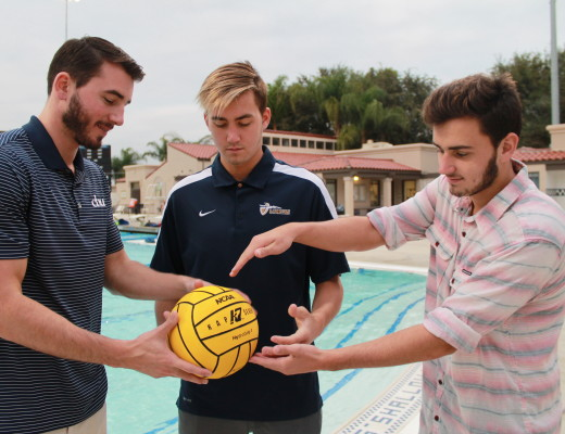 Kieth Jizmejian, alumni, Jake Jizmejian, senior applied theology major, and Kolby Jizmejian, freshman history and english double major, have all been playing water polo since middle school and still love playing the sport in college. Alex Castro | Banner