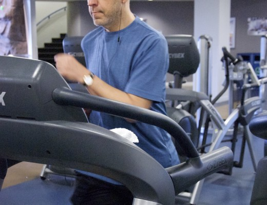 Dr. Jeffrey Barnes, dean of Academic Services and professor of history, exercises at California Baptist University's Recreation Center. Katie Ring | Banner