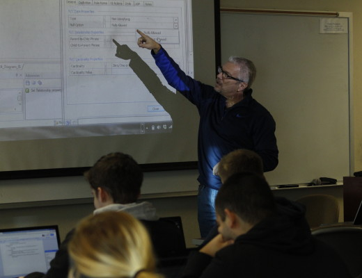 Dr. David Bishop, assistant professor of software engineering, teaches data- base systems as one of many software engineering classes at CBU. Courtney Coleman | Banner