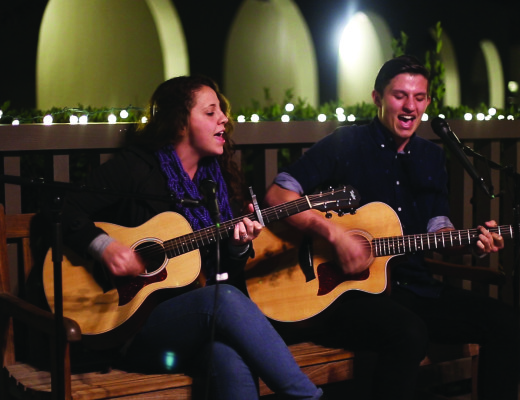 """Jake Roque, sophomore business administration major, and Tayler Lanning, sophomore marketing major, perform three cover songs in the gazebo in Harden Square for The Banner's first Newsroom Session of 2015. The songs include Ed Sheeran's """"You Need me, I Don't Need You,"""" Jennifer Lawrence's """"The Hanging Tree"""" and Noah Gundersen's """"Jesus, Jesus."""" Matthew Swope 