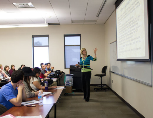 Dr. Amy Stumpf, professor of society and religion, lectures about the importance of knowing and understanding other religions and cultures so students have a better view of the world. Julie Gurrola | Banner