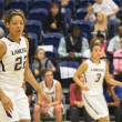 Darsha Burnside, junior early childhood studies major and forward/center, helped score the initial points in the women's basketball game against Brigham Young University–Hawaii, Feb. 16. She was one of five players who scored. Jonny Love | Banner