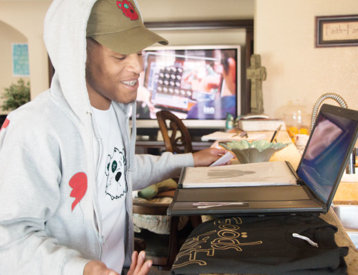 Krysta Hawkins   Banner Tramond Wilkerson, owner of Abandon Goods, sketches his own original designs in his notepad everyday. All designs are related to his life in some way.