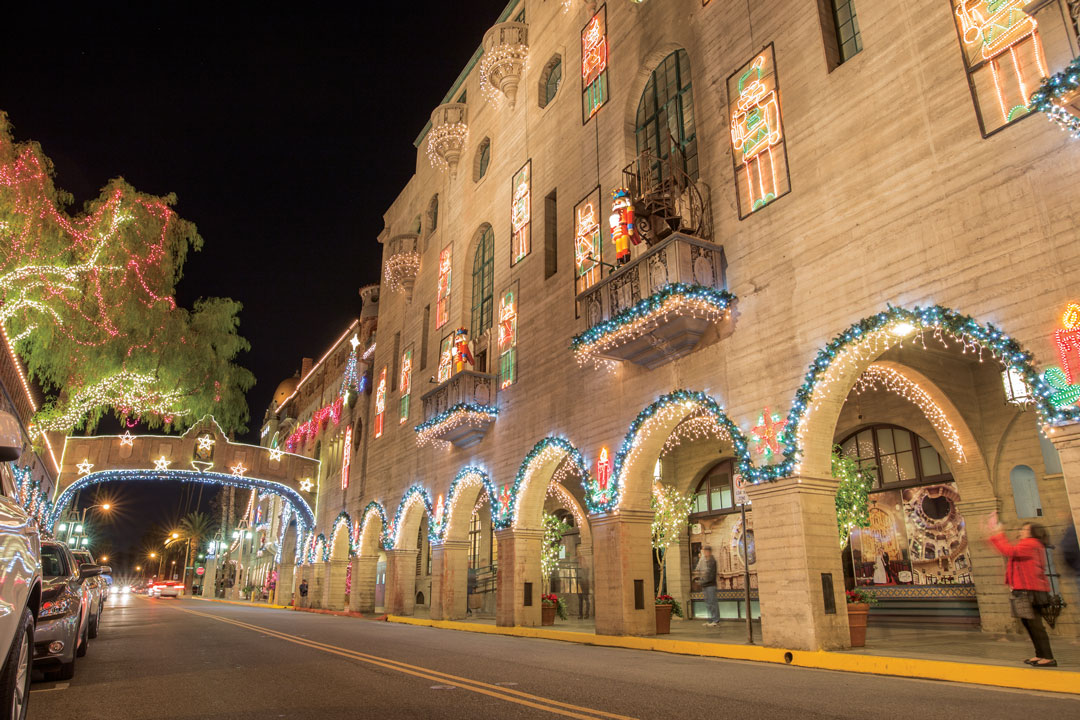 Conner Schuh | Banner Nutcrackers are displayed on some of the windows of the Mission Inn in Riverside, with more lights, garlands and decorations for Festival of Lights goers to enjoy.