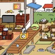 "Courtesy of HitPoint Inc. Many cats frolic and sleep on screen in the app ""Neko Atsume."" The game allows users to tend to virtual cats by buying them food and toys."